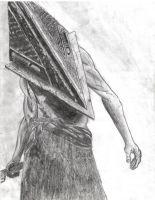 Pyramid Head Pencil Drawing by absinthedemon22