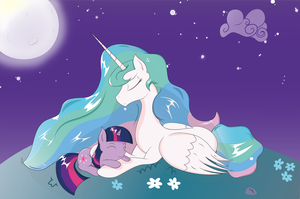 Princess Celestia and Twilight Sparkle by JoeMasterPencil