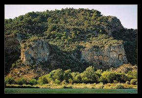 Dalyan - Rocky Tombs (analog photo) by skarzynscy