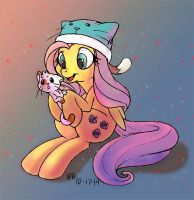 Fluttershy and Kitty cat by firebird145