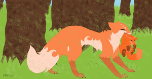 Spring time foxes by Moona-chann