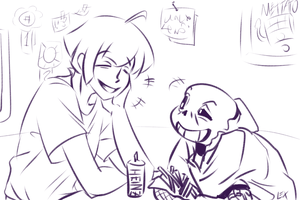 Undertale: Sans and Frisk 2 by Fulcrumisthebomb