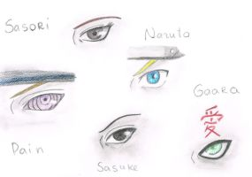 Naruto characters eyes by sianagalaxy