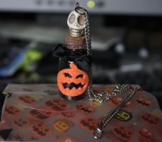 Halloween Alchemy bottle necklace by ashblackthorn