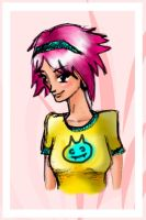 pink haired girl by triin