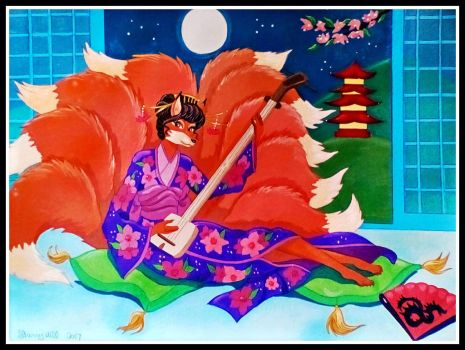 Shamisen Kitsune by FlapperFoxy