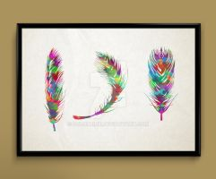 feathers watercolor print art by ColourInk