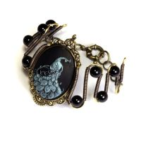 Neo Victorian Blue Peacock Bracelet by CatherinetteRings