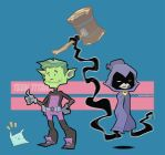 Teen Titans Beast boy and Raven by AldenMiranda