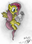 Fluttershy and Angel - Fighting is Magic - Colored by AncientOwl