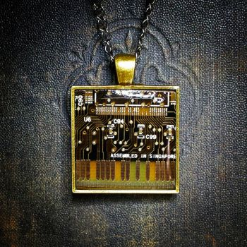 Circuit Board Pendant - Black and Gold by Llyzabeth