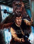Han Solo and Chewbacca by Twynsunz