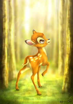 Bambi - The first sign of spring by KhaliaArt