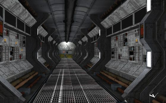 Corridor At Penumbra Station by lhumungus