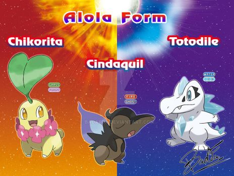 Chikorita Cyndaquil and Totodile  Alola form by badafra