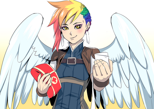 Commission: Rainbow Feather the Medic by bakki
