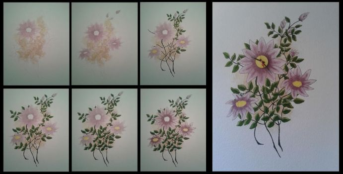 Painted Flower Wall Clock by Tharjana