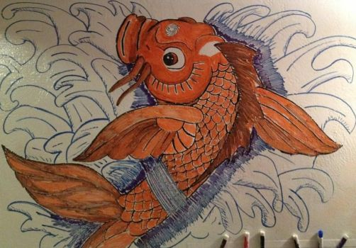 Marker Koi Fish on Wall by sguinn