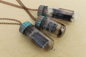 Electron Vacuum Tube Pendants with Copper Caps by tursiart