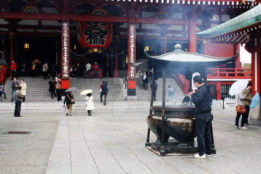Offering Incense at Sensoji by Fairytwister