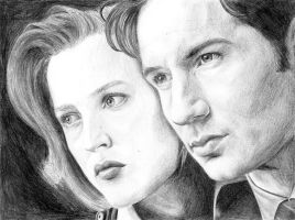 Mulder and Scully WIP- scan by ratgirl84