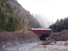 Covered Bridge Over River by dseomn