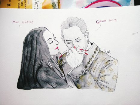 inktober 6 morticia and gomez addams fullimage by ice-rockz