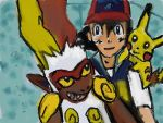 After the full battle-Infernape, Ash and Pikachu by Fran48