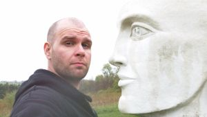 Gaea and I at the Taconic Sculpture Park