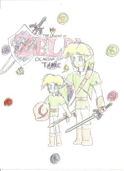 Zelda Ocarina of Time Young and Adult Link by Excalibur5k