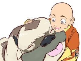 Kids Aang and Appa by Dilutra