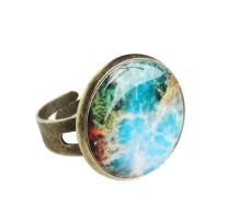 Vintage Bronze Colorful Cosmic Galaxy Ring by crystaland