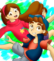 Dipper and Mabel falling by KanzenCM