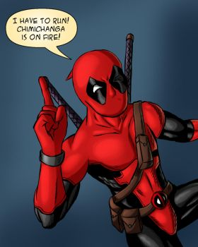 Deadpool in a hurry - color by ZethKeeper