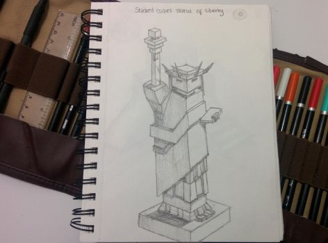 Stacked Cubes Statue of Liberty by bezzlebez