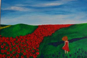My heart is a red poppy field by DragonKira