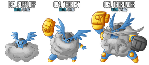 Fakemon: 93 - 95 by MTC-Studio