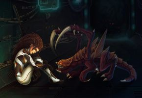Kerrigan and Zergling by cibo-black-cat