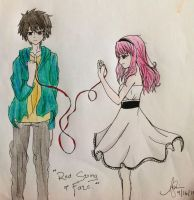 Red String of Fate (Colored) by Laladeedadee