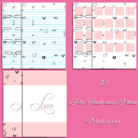 Love Paper Heart Doodle iPod iPhone Wallpaper Pack by CupcakeyKitten
