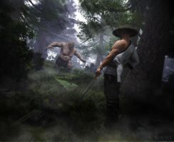 Fight in the forest by RawArt3d