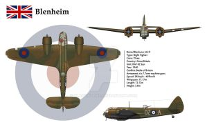 Blenheim 1F 82 Sqn 3-View by WS-Clave