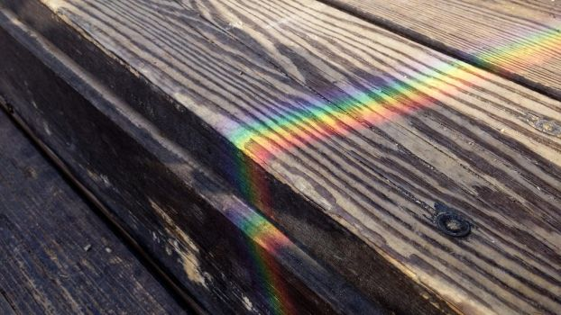 Rainbow on Wooden Stairs by zorbama