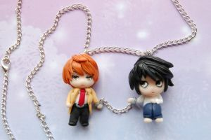 Death Note necklace with handmade clay charms by SimonaZ