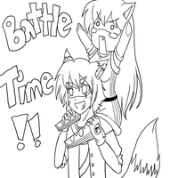 BATTLE TIME - lineart by Mi-tails
