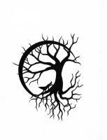 Tree of Life with Wolf Design by CalamityMoon
