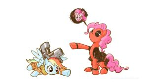 Cabledash and Pinkiepool by GiantMosquito