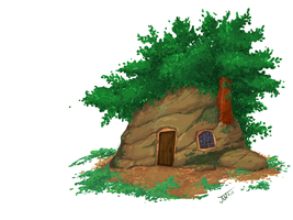Digital Painting: Forest Hut by JoeWierenga