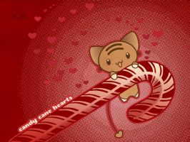 Candy Cane Hearts Wallpaper by lafhaha