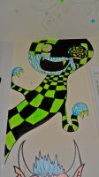 Checkered Green Worm monster by MATTROSENART